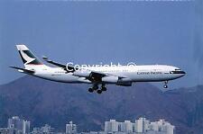 Cathay Pacific Airways Airbus A340-211 VR-HMR Landing at Kai Tak Postcard