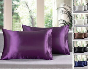 Set-of-2-Solid-Soft-Charmeuse-Satin-Pillow-Cases-Queen-King