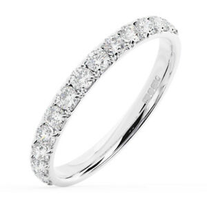 0-75Carat-Round-Brilliant-Cut-Diamond-Half-Eternity-Wedding-Ring-in-18K-Gold