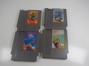Four-1980-039-s-NES-Nintendo-Game-Cartridges-Ninja-Gaiden-Super-C-Tetris-Golf