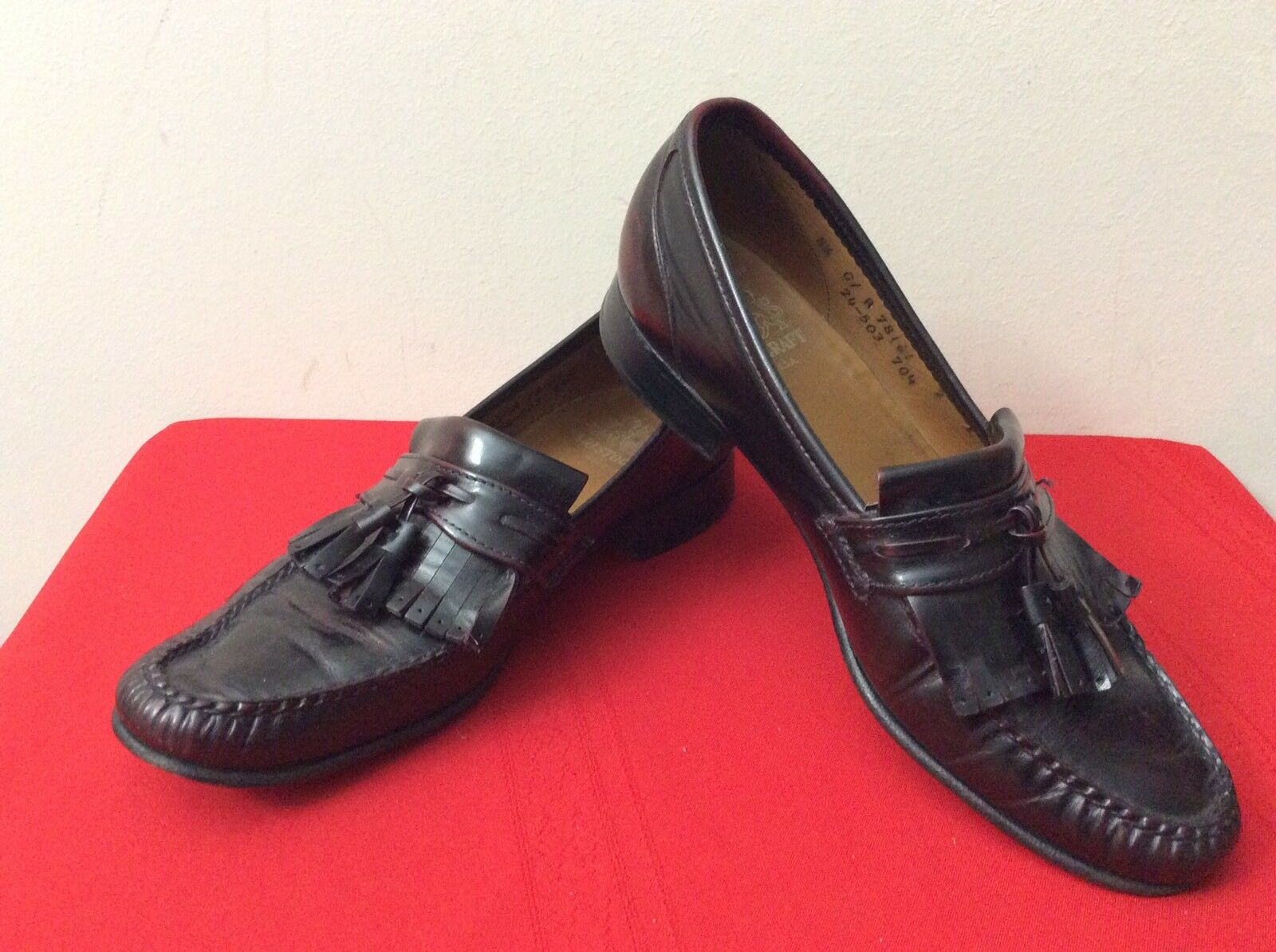 Johnston & Murphy Tassel Dress Shoes Brown Wingtip Tassel Murphy Loafers Mens Size 8.5 (bx25) eacfdd