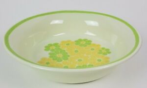 Franciscan Picnic Large Round Serving Bowl 1970s Earthenware Green Yellow Floral