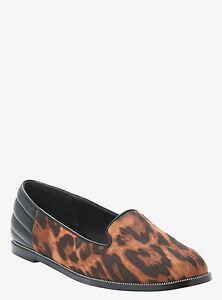 Torrid-Quilted-Leopard-Print-Slip-on-Loafers-Tan-Black-Shoes-Size-8-W-1