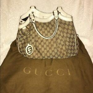a28ec076e0e53e Image is loading 100-Authentic-Gucci-Sukey-Beige-With-Gold-Canvas-