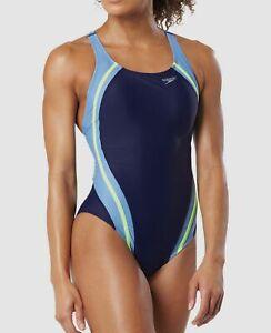 180-Speedo-Women-039-s-Blue-Powerflex-Splice-Cutout-One-Piece-Racerback-Swimsuit-10