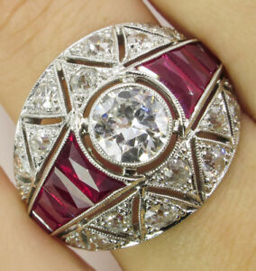 Fashion Art Deco Silver Plated White Topaz Ruby Wedding Jewelry Ring