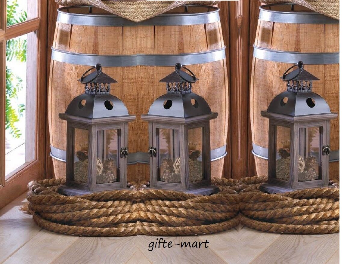3 rustic brown wood metal 12  Candle holder Lantern light terrace outdoor patio