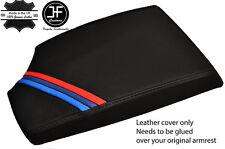 BLACK STITCHING M STRIPES LEATHER ARMREST COVER FITS BMW E81 E82 E87 E88 05-12