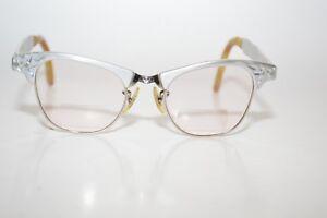 de204bd8238b Image is loading Vintage-Artcraft-Eyeglasses-frames-42-18-Etched-Aluminum-