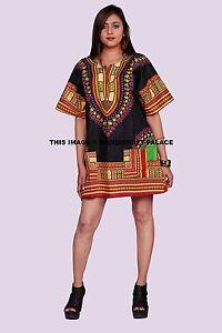 Poncho-Mexicano-Dashiki-Africano-Algodon-Hippie-Tribal-Boho-Camisa-Negro-Top-Dresses