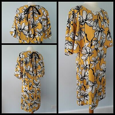 M/&S Sleepwear Pyjama Shorts Mustard Yellow Floral Pattern Size 14