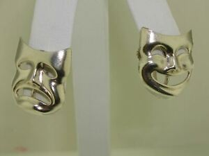 VINTAGE-STERLING-SILVER-THEATER-HAPPY-amp-SAD-MASK-SCREW-BACK-EARRINGS