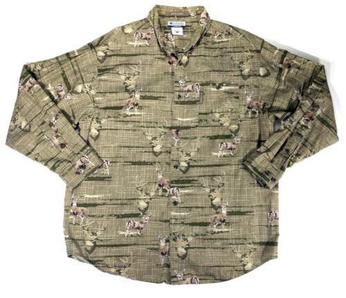 Columbia River Lodge Mens L Long Sleeve Button Down Camo Deer Shirt Pocket Green