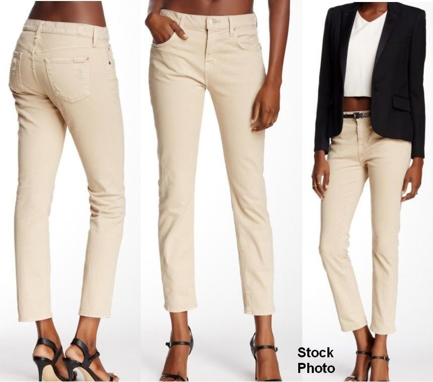 7 for all Mankind Women Relaxed High Waist Skinny Jean Sz 24 Buff MSRP  190 NEW