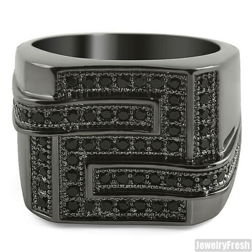 Fully Blacked Out Iced Out Hip Hop Maze Ring For Men