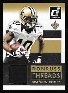 new style 73a86 fdeb6 Details about 2015 Panini Donruss Threads #BC Brandin Cooks Jersey Insert  Card
