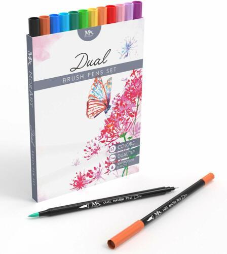 Ideale per lettering calligrafia 12 x Pennarelli acquarellabili Doppia punta