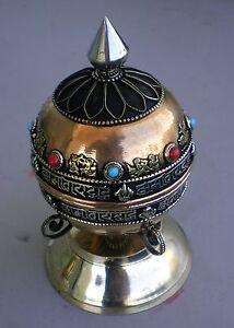 Standing Tibetan Prayer Wheel Brass Auspicious Signs Copper Alloy Mantra Scroll