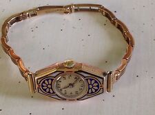 EXQUISITE Art Deco FLORAL ENAMEL 9ct GOLD 15.03g WATCH & BRACELET FABULOUS!