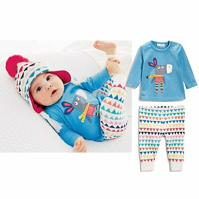2pcs Newborn Kids Baby Girls Infant Outfit Long Sleeve T-Shirt+Pants Clothes Set