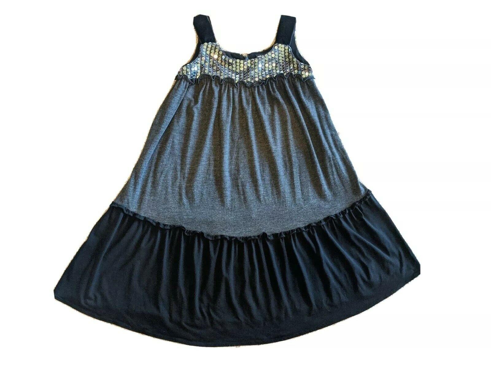 *David Charles* sz 7 yrs gray black sequins sleeveless girls dress *VGC*