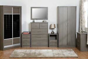 Seconique Lisbon Black Bedroom Furniture Range Wardrobe Drawers