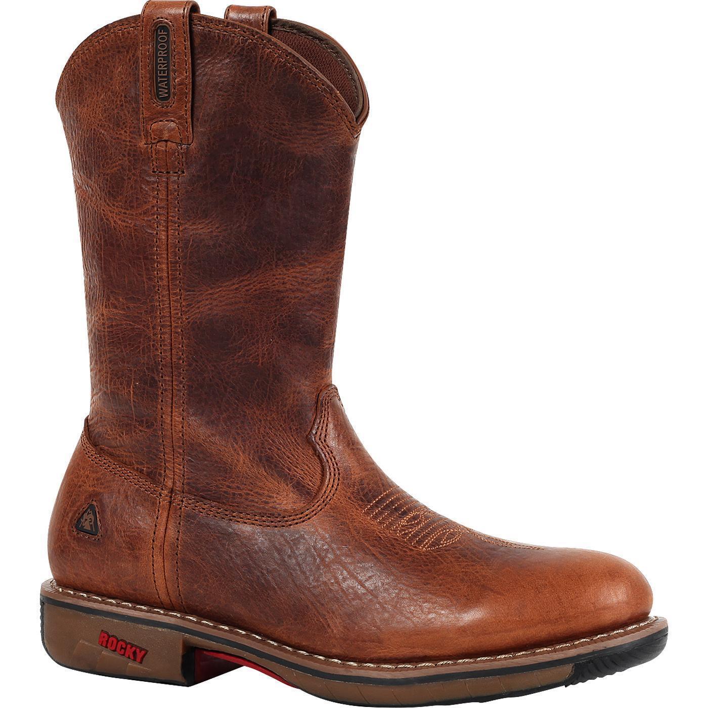 Rocky Ride Para Hombre botas Impermeables occidental Marrón Puntera De Acero FQ0006181