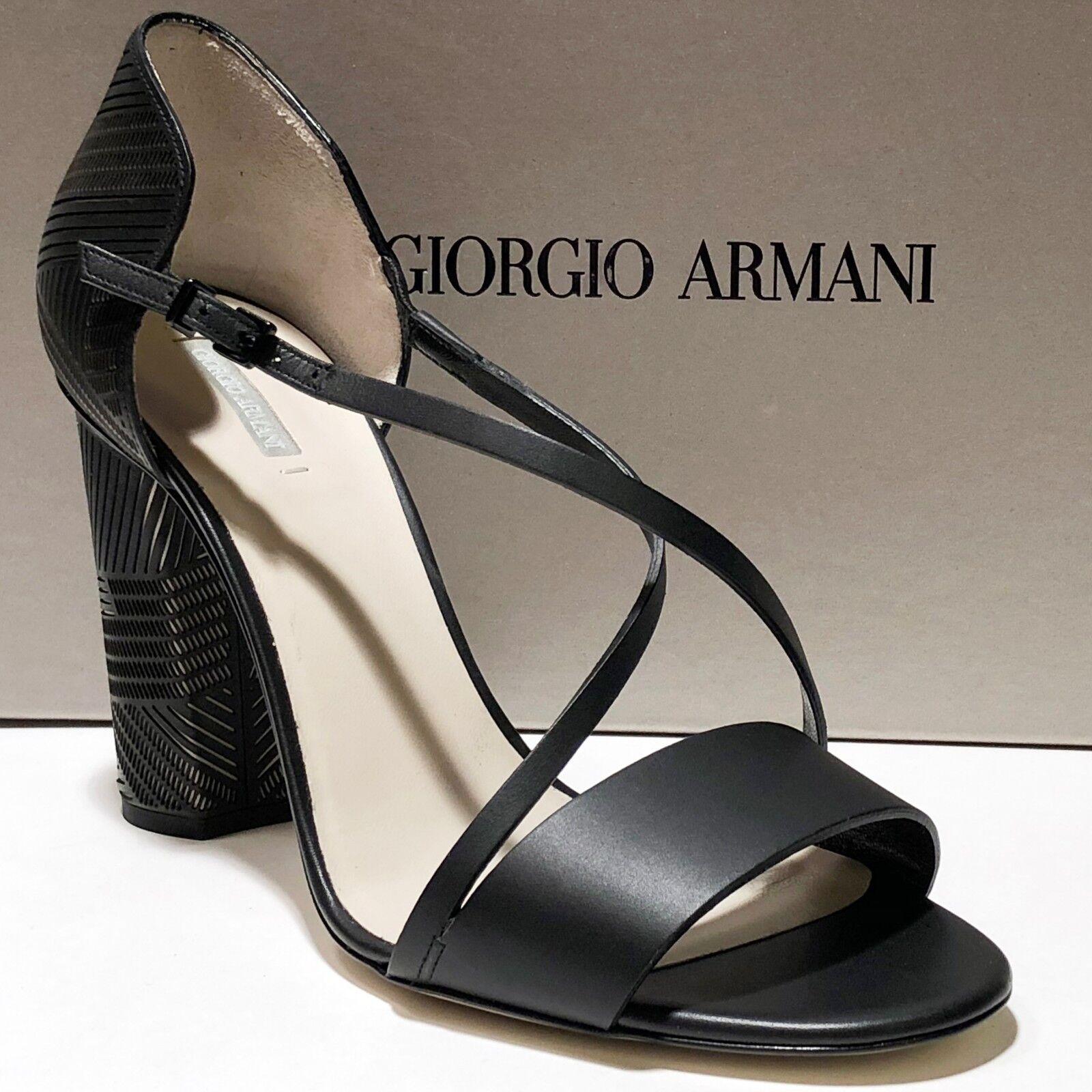 consegna lampo  1025 NIB NIB NIB Giorgio Armani Donna  nero Leather Fashion Strap d'Orsay Heels Pumps  la migliore offerta del negozio online