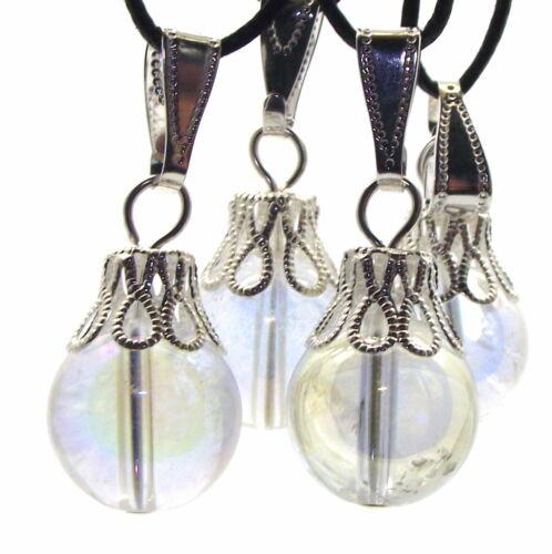 12mm Round Angel Aura Quartz Gemstone Crystal Pendant