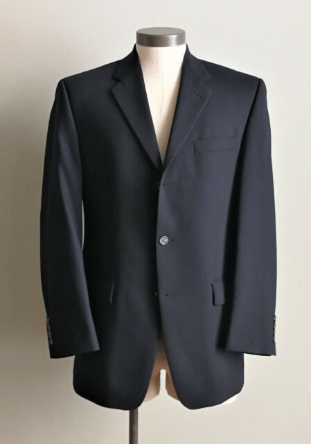 CHAPS 38R Mens suit jacket solid black 100% wool three button blazer coat