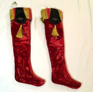 Red Velvet Christmas Stockings.Details About 2 Regal Red Velvet Christmas Stockings With Gold Tassels Hearth Decoration