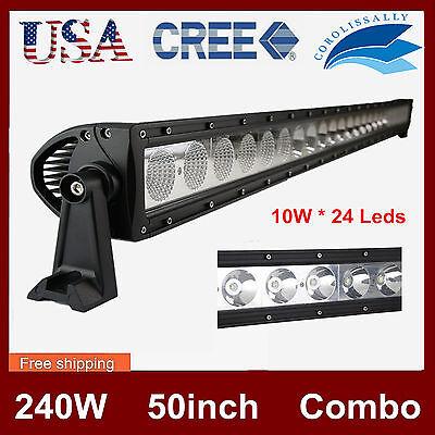 50inch 240W CREE LED Light Bar Offroad Single Row Driving Flood Spot Lamp 4X4WD