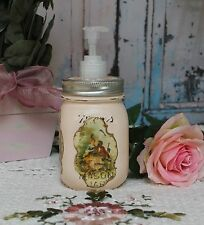 ~ French Country Bathroom Mason Jar Soap Dispenser Shabby Rustic Distressed ~