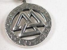 Viking Valknut & Runes Pewter Pendant, Norse, Celtic, Odin