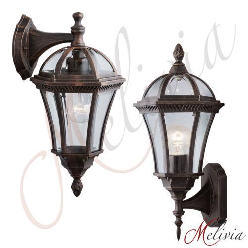 Lampe D'Extérieur Applique Murale Verre Marron de Jardin Éclairage Rustique 27