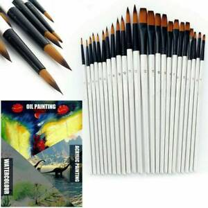 Artist Paint Brushes 12pc//Set Acrylic Oil Watercolour Painting Craft Art Model