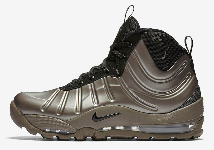 Nike Air Bakin' Posite Metallic Pewter Black Silver Foamposite Mens Sz 8.5 Boots