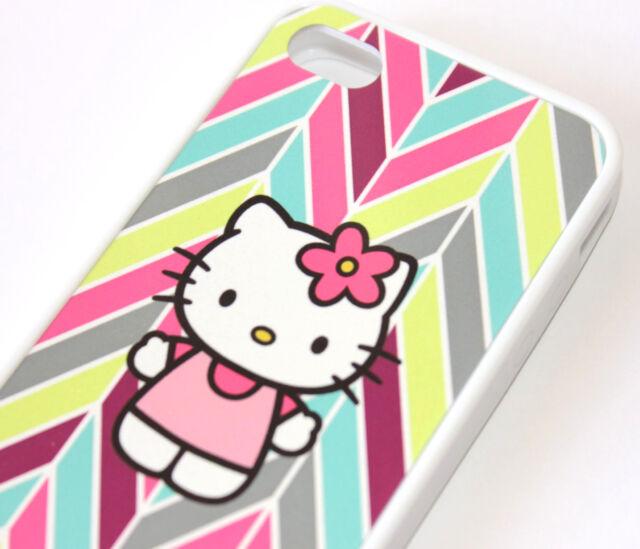 for iPhone 4 4S Pink Hello Kitty Rainbow Chevron Hard TPU Rubber Gummy Skin Case