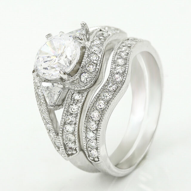 Womens Ladies Round Cut 925 Sterling Silver Engagement Wedding Ring Band Set