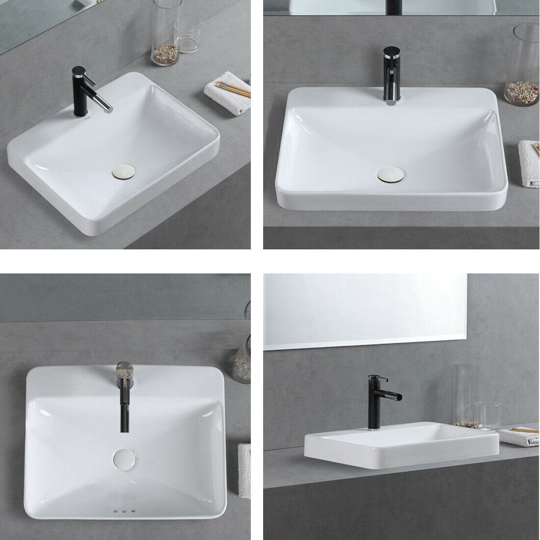 """4"""" Rectangular Drop in Bathroom Vanity Sink with Overflow and Faucet Hole  White"""