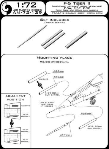 F-5 A//E//F Tiger II tube de Pitot /& 20 mm M39A2 Gun Barrels #72139 master 1//72