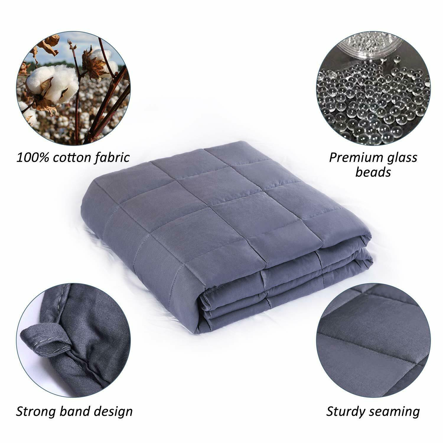 Cooling Heavy Weighted Blanket with Glass Beads - 60''x 80''