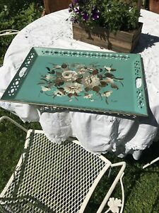 "Vintage Large Teal Nashco Hand Painted Toleware Painted Tray 23"" x 16"" French"