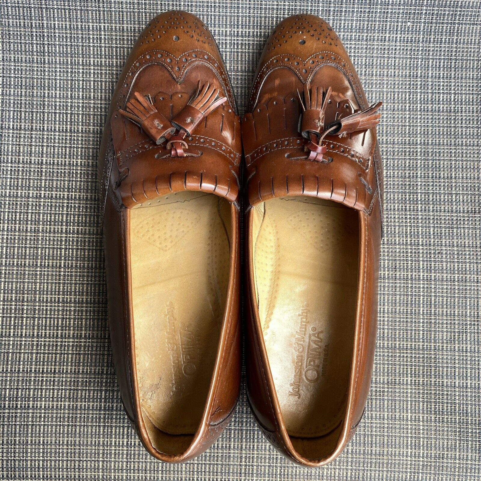 Johnston and Murphy 10 D Optima Loafer Tassel Brown Leather shoes