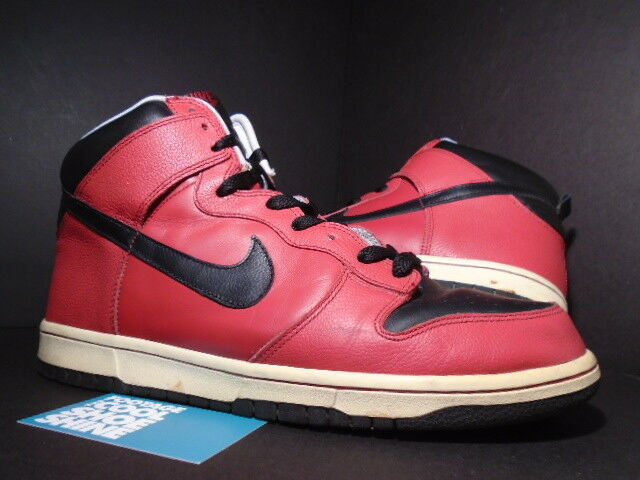 2005 Nike Dunk High FIRE TRUE RED BLACK WHITE BRED 309432-601 Sz 11