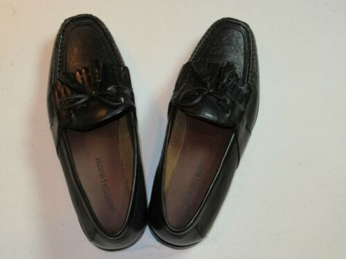 $148 New in box Johnston /& Murphy leather Aragon II solid Black shoes 11.5 D