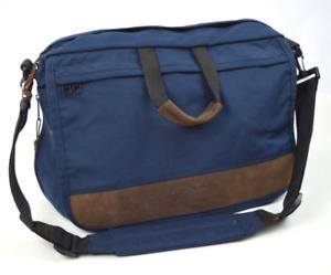 Vtg-90s-EASTPAK-Blue-Brown-Leather-Shoulder-Messenger-Flap-Laptop-Bag-Briefcase