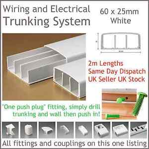 White Electrical Trunking System Cable Ducting Wiring Conduit 60 X 25mm 2m Long Ebay