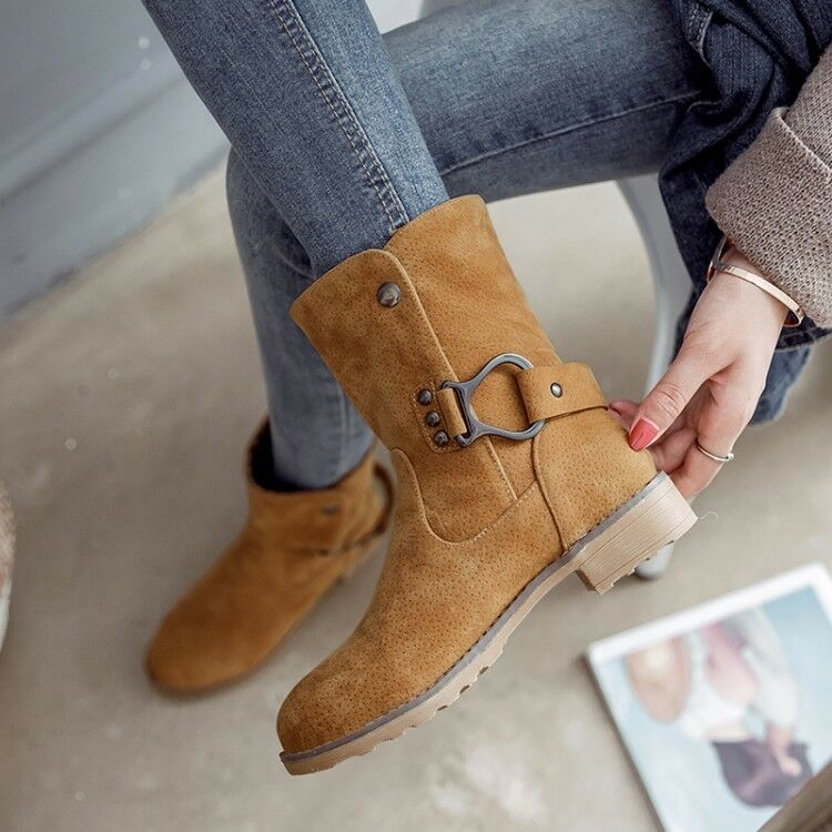 New Fashion Womens Lace Up Buckle Strap Mid Calf Boots Metal Decor Casual shoes
