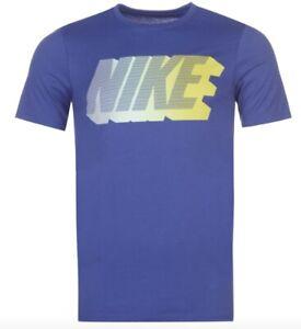 Détails sur Nike Homme T Shirt Bleu Jaune Toutes les Tailles Neuf avec Étiquette